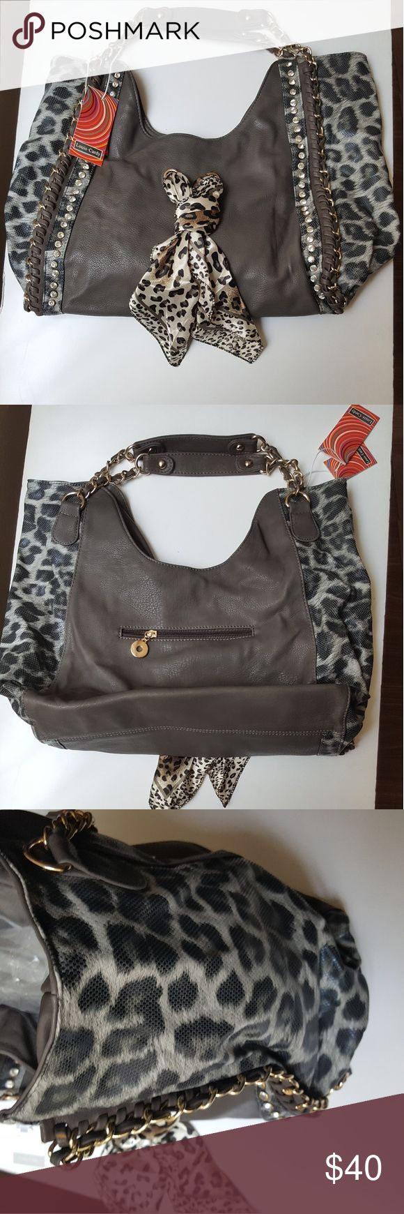 Grey  shoulder bag with animal print and scarf Stylish grey oversized shoulder bag (New with tags) - animal print side-by-side design with scarf attached; nice compartments, zipper closure. Measurements: Width- 19 inches,  Length - 10 inches, Shoulder straps - 15 inch (chain link).. Bags Shoulder Bags