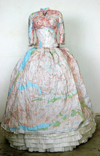 THe Highland Dress By Susan Stockwell made out of paper maps.