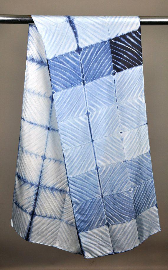Indigo Arashi Shibori Scarf.... 14 x 72. Hand wash. Or gentle machine cycle. Silk Habotai Acid dyed and set. I love this pole wrap .... it