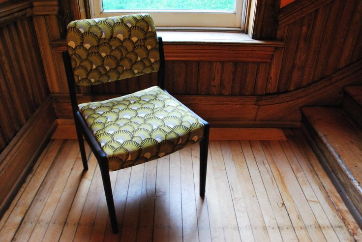 Stripped the paint off this $10 Value Village find and reupholstered it in a fun pattern. Photograph by Fred Romain.