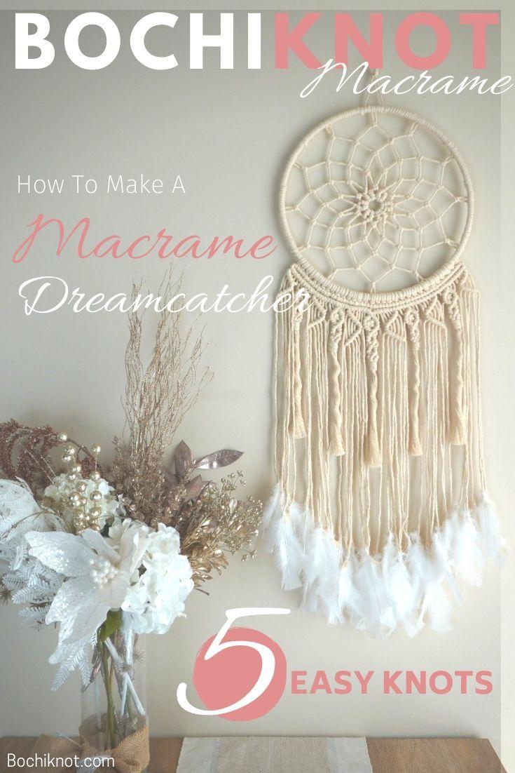 How To Make A Macrame Dreamcatcher Pattern Free Macrame Patterns Macrame Wall Hanging Diy Dream Catcher