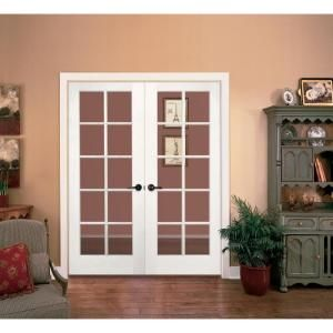 JELD WEN Smooth 10 Lite Primed Pine Prehung Interior French Double Door  With Primed Jamb DISCONTINUED