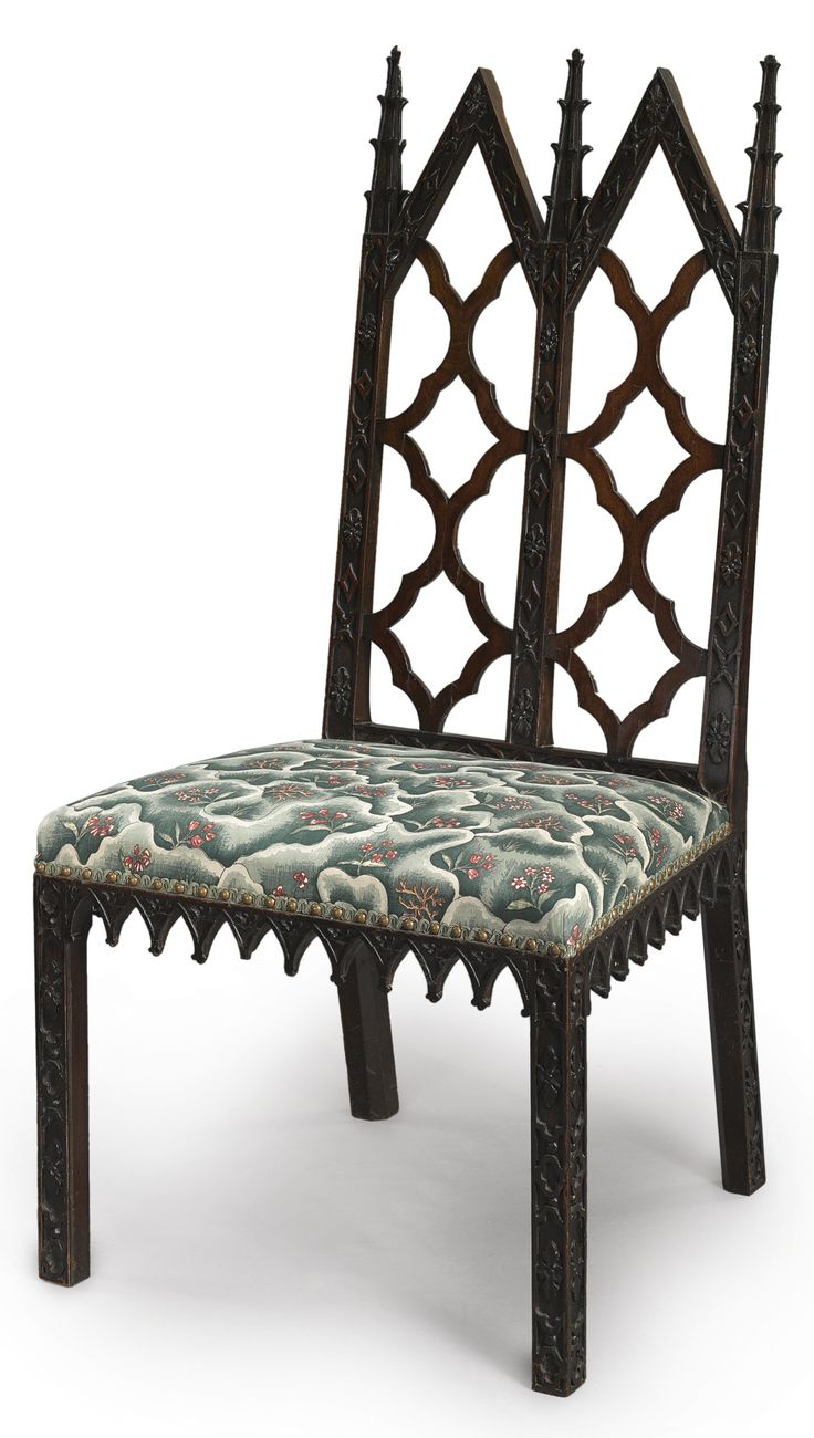c1760 A III Gothic Revival mahogany side chair