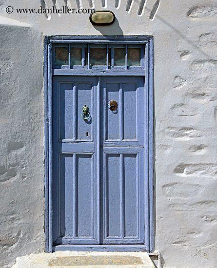 Europe Greece Amorgos Doorswins Purple Door W Green