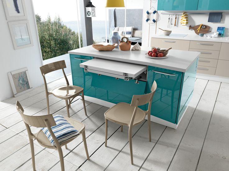 Lacquered linear kitchen with island ALICANTE MINI