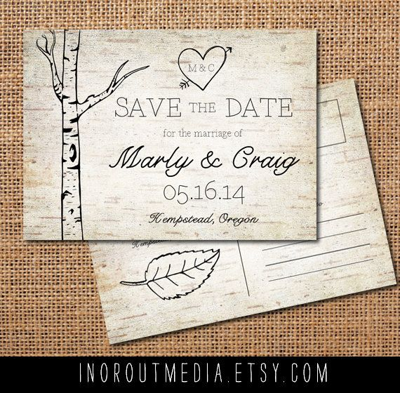 Woodland Wedding Save the Date Card - Vintage, Rustic, wood, trees, wood grain, bark, birch trees, woodland, woods, save the date