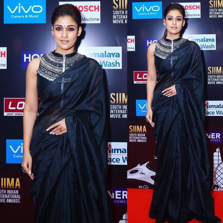 Nayanthara Black Plain Saree and Designer Blouse At Siima 2017