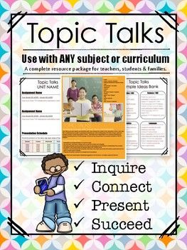 Build student inquiry, thinking and oral skills through engaging Topic Talks; a tried and true method of inquiry-based tasks that students complete at home and present in class. TpT #pyp #ibo #unitsofinquiry #editabletemplates #inquirybasedteaching #teachpublicspeaking #inquiryprojects