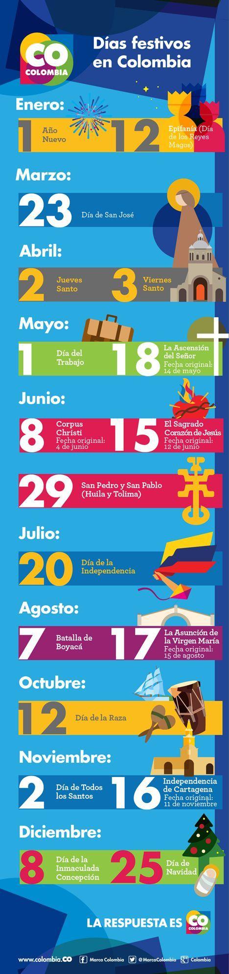 Holiday calendar Colombia Calendario de dias festivos