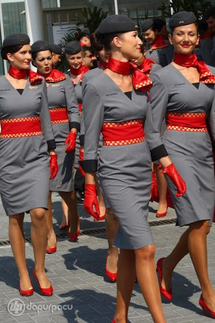 Etihad Airways. Nice looking Uniforms, wish we had something more like this- minus the gloves of course..