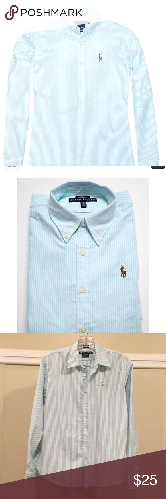 """RALPH LAUREN Slim Fit Button-Down LIKE NEW Authentic RL. """"Slim Fit""""/cut. The stripes are white and a light turquoise/Tiffany Blue color, but the lighting wasn't right when I photographed my own piece; stock photo reflects actual colors more accurately.  LIKE NEW condition; I don't think it's ever been worn; it's just been stored away for awhile! Ralph Lauren Tops Button Down Shirts"""