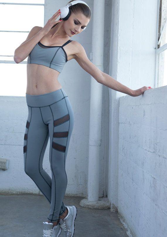 Grijze legging verkoop Gray Yoga broek Yoga legging door NINABROZE