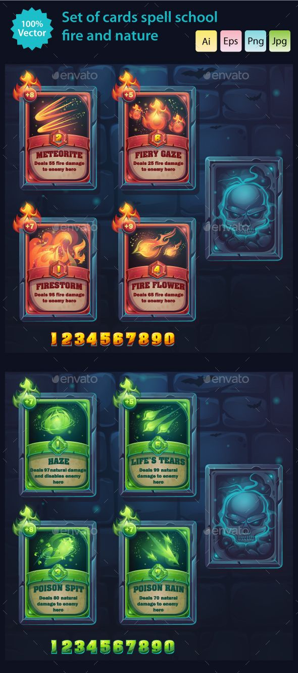 Fire and Nature - Set of Cards Spell School - Miscellaneous Game Assets | Download: https://graphicriver.net/item/fire-and-nature-set-of-cards-spell-school/19060753?ref=sinzo