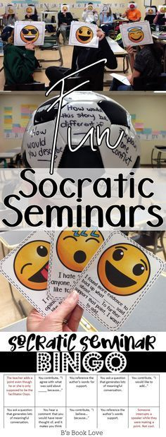 Fun Socratic Seminars! How to get students talking, moving, and sharing with emoji accountable talk, Socratic seminar bingo, digital discussions, and more!