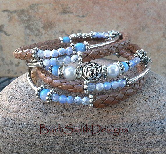 Leather Wrap Wire Bracelet Blue Pantone by BarbSmithDesigns