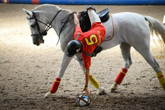 Horse-ball -  my former riding instructor was a British horse-ball champion.