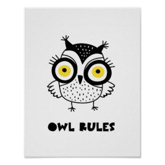 Kids Owl Rules Poster