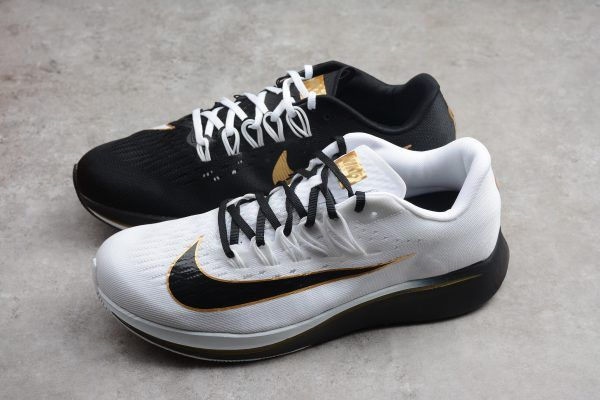 "0dc086f27a325 2018 Nike Zoom Fly ""Mismatched"" White Black-Metallic Gold 880848-006 ..."