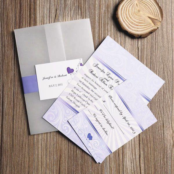 Affordable Romantic Lavender Purple Hearts Printed Pocket Wedding  Invitation Set EWPI065