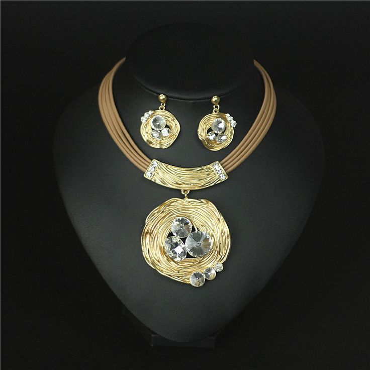 Indian Jewelry sets statement necklace earrings for women parure bijoux femme jewellery gold plated kristallen sieraden crystal