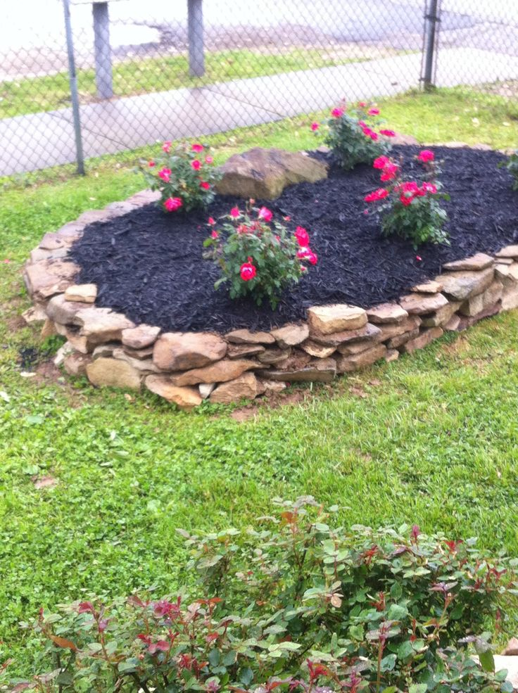 flower beds with rocks