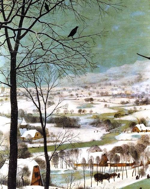 Pieter Bruegel the Elder Hunters in the snow (detail)
