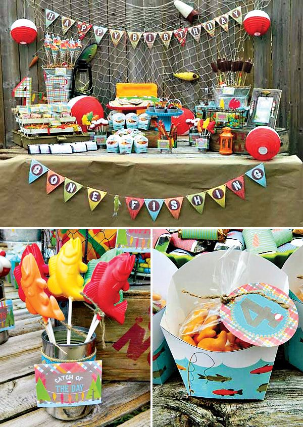 "A Reel Fun Gone Fishing Birthday Party  Gummy worm tackle box party favors and red  white bobber paper lanterns – ""Gone Fishing"" party sign with driftwood frame and lure embellishments – Tacklebox birthday cake + Pretzel fishing rods with caught Swedish Fish"