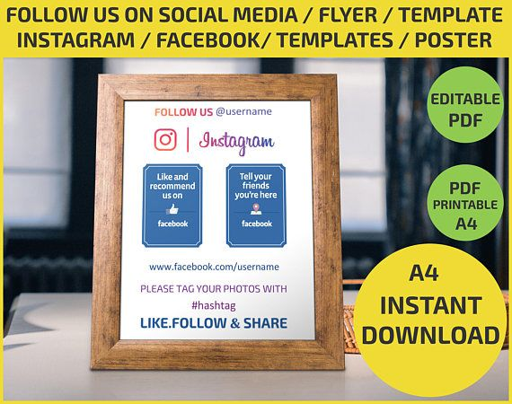 Follow Us On Social Media Check In Like Us Share Etsy Social Media Flyer Template Social Media Poster
