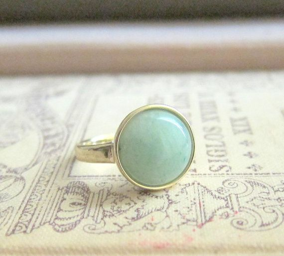 Jewelsalem - Mint Green Ring Aventurine Gem Stone Ring Sea Foam Pale Light Green Mint Dusty Modern Simple Classic Classy Minimal Precious Stone Jewelry