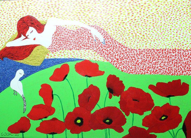 Rest-꽃밭에서, Acrylic on canvas,72.7x53.0cm, 2013, by 김미숙, 아트뮤제갤러리