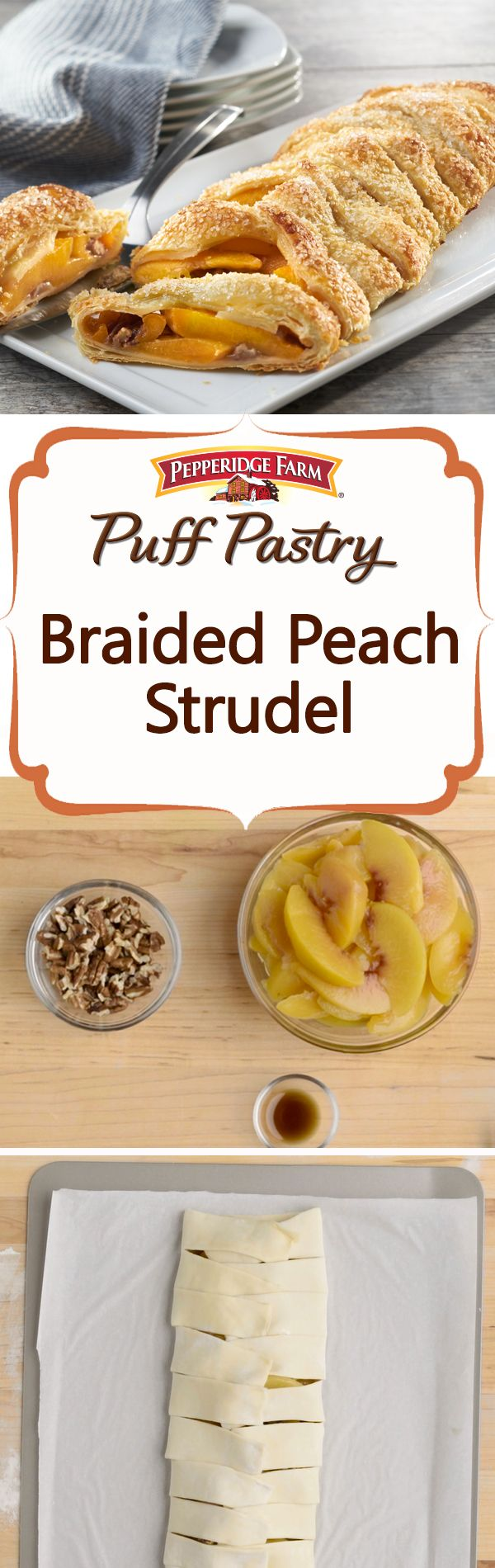 Puff Pastry Braided Peach Strudel recipe. Nothing says summertime quite like sweet peaches! Make the most of nature's summer bounty with this outstanding, easy dessert. Peel and slice fresh peaches, or save on the chopping and substitute frozen for an equally delicious treat. Prepared Puff Pastry sheets are simply braided around a filling of peaches, chopped pecan, brown sugar and a touch of vanilla. This is a perfect dessert served with a scoop of ice cream, or a lovely addition to brunch.