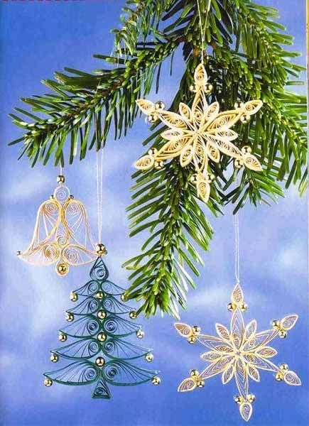 3D Snowflake Quilling Patterns | quilled snowflakes for christmas tree decorating