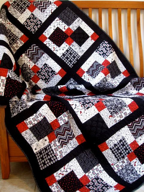 black & white geometric quilts | ... - Twin Topper or Lap Quilt 46 X 76 - Black, White, Touch of Red