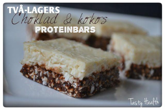 Två-lagers choklad & kokos proteinbars
