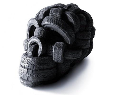 Skull: Skulls, Sculpture, Tireskull, Idea, Tire Skull, Stuff, Design