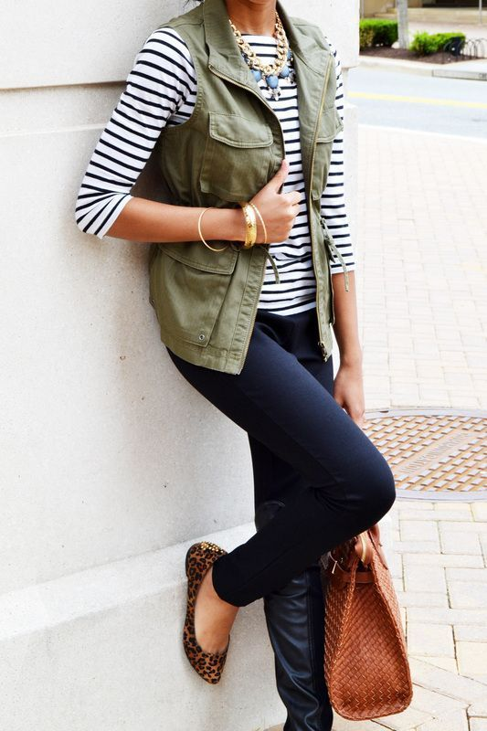 J.Crew green utility vest, striped shirt, black pants, statement necklace - Spark