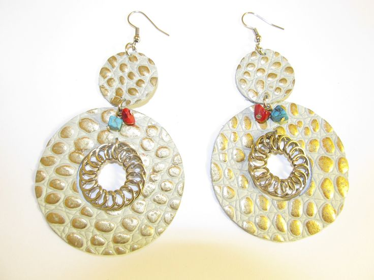 Handmade leather earrings (1 pair)  Made with embossed beige/gold leather, metal spiral and semiprecious stones.