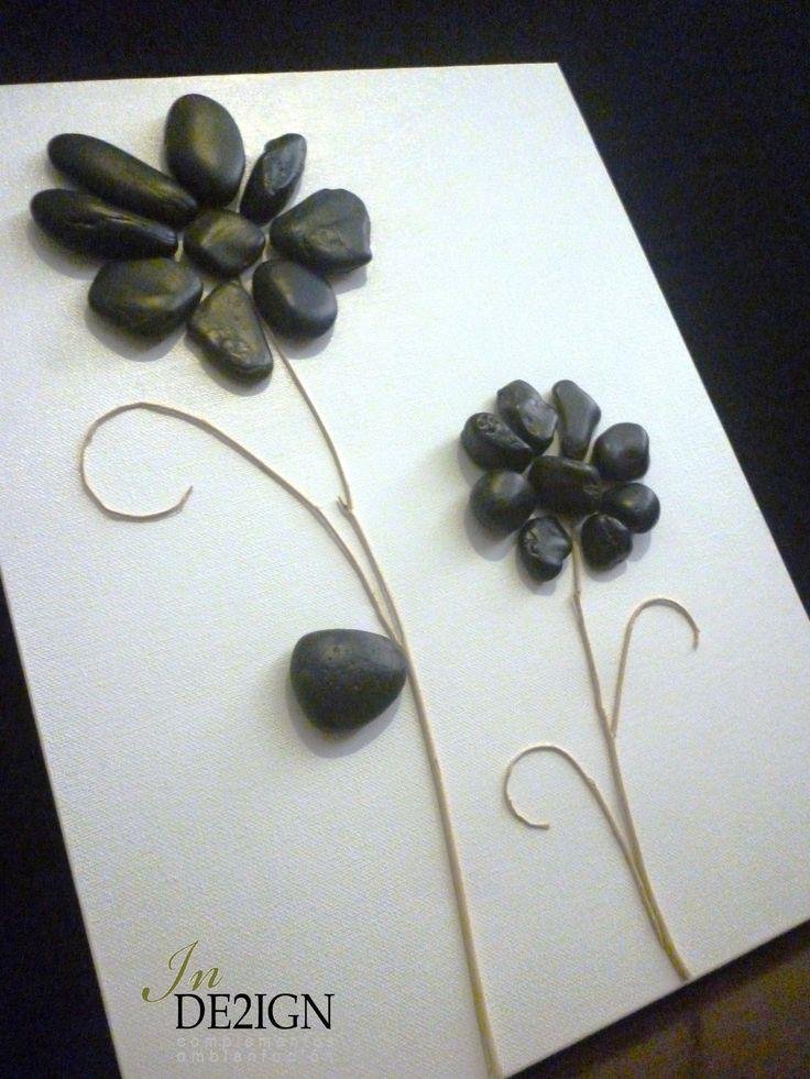 Cuadro con piedras en blanco y negro by in de2ign - Cuadro blanco y negro ...
