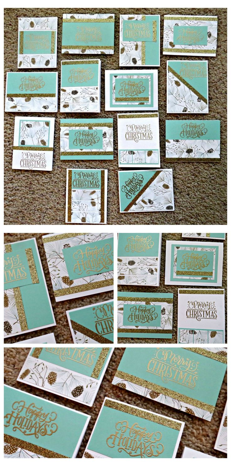 CTMH Card Workshop using Oh Deer Paper Packet, CTMH Gold Shimmer Trim and gold embossing. Used One Sheet Wonder (OSW) template to create base cards along with the Sea Glass Cardstock. For more information, contact scrapnroll@gmail.com to order your workshop today.