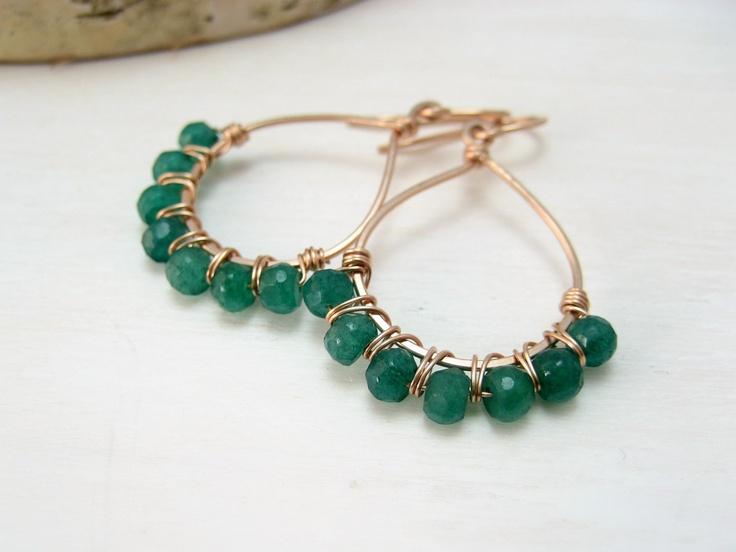 Genuine Emerald and 14kt Rose Gold Filled Hoop Earrings