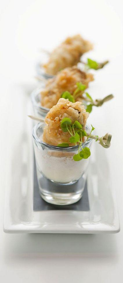 Mejillones en gabardina con brandada de bacalao (mussel beignet with brandade whip and lemon chilli salt)