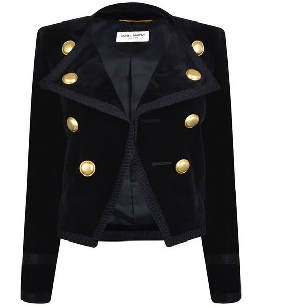 Saint Laurent Velvet Jacket (36.185 ARS) ❤ liked on Polyvore featuring outerwear, jackets, black, yves saint laurent jacket, military jacket, yves saint laurent, military style jacket and long sleeve jacket