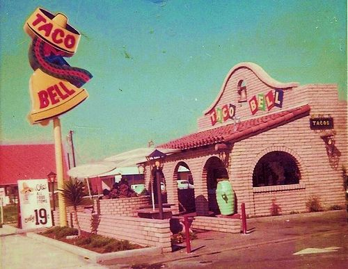 The Taco Bell on Francisquito Ave in Baldwin Park in 1973.  Sadly most of the Taco Bells have been remodeled and NOT for the better, these old signs were gorgeous.  Esp at night when lit.