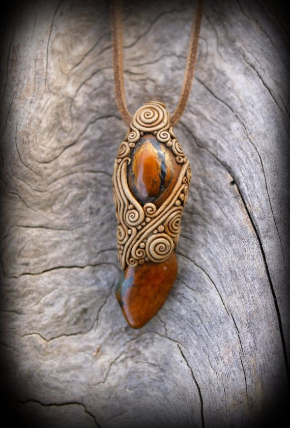 Tiger eye stone bohemian pendant African Tiger by PeaceElements, €25.00