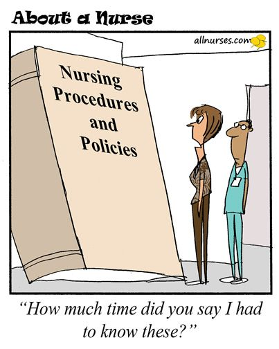 Cartoon: Have you read your company's procedures and policies? - About A Nurse - Nursing Cartoon Series Nursing Humor