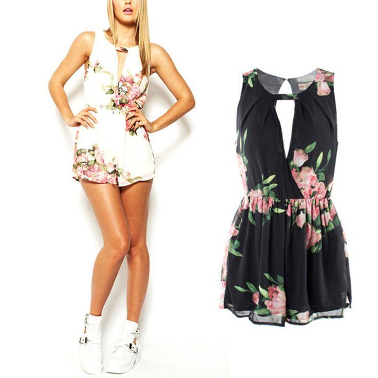 Été Femelle Salopette Vêtements Dos Ouvert En Mousseline de Soie Floral Barboteuse Femmes Combinaisons Salopette