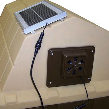 Omg this is awesome!! Solar powered dog house fan to keep dogs cool during the hot summer weather :)