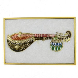 Arts In India Embossed Miniature Painting Of Indian Music Instruments On Marble Plate 15 X 10 cm: Amazon.co.uk: Kitchen & Home