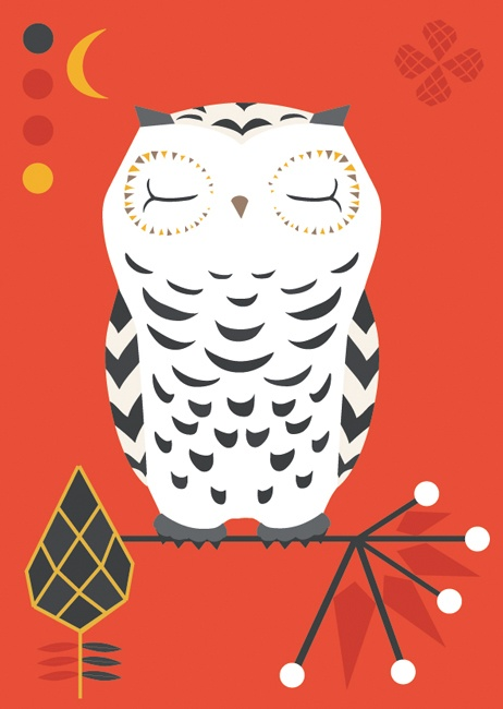 Folklore owl postcard illustration #folklore #owl #teresebast