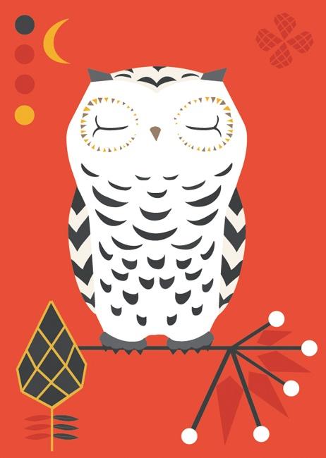 Folklore owl postcard illustration #folklore #owl #teresebast